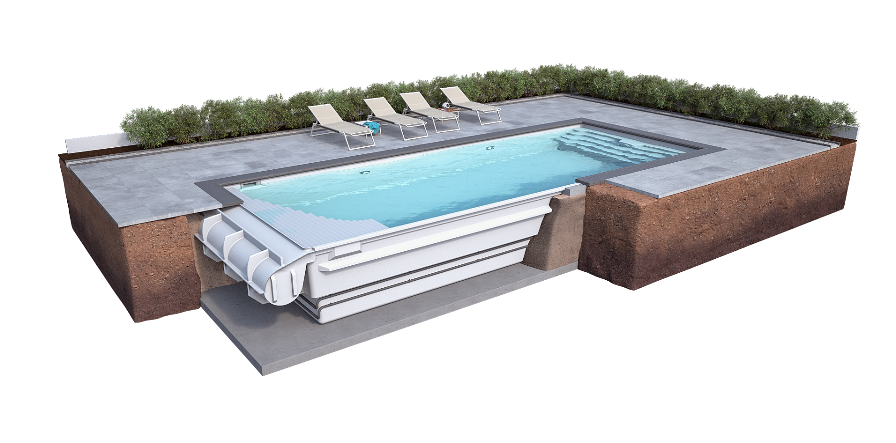 Die Schwimmbecken Sind Serienmäßig Mit Einem Stehrand In 90 Cm Tiefe  Ausgestattet.